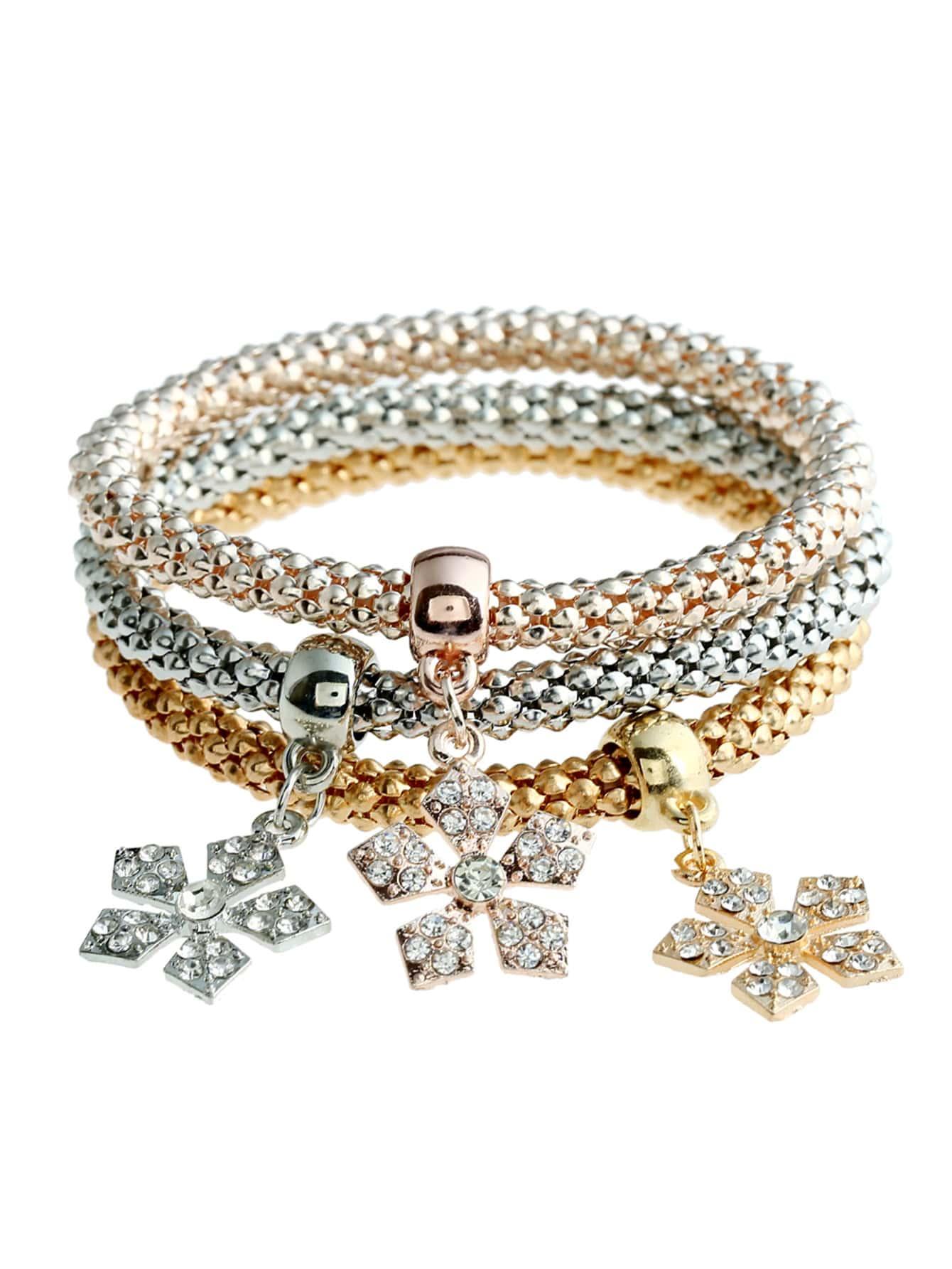 Snowflake Charm Bracelet 3pcs