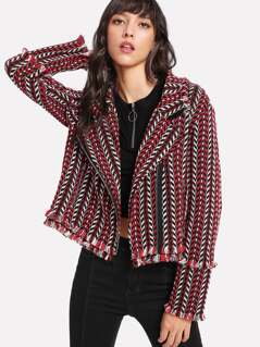 Frayed Trim Asymmetric Zip Tweed Jacket