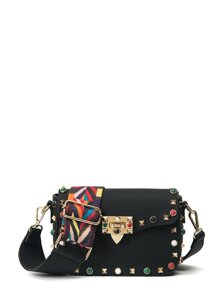 Studded Decorated PU Shoulder Bag
