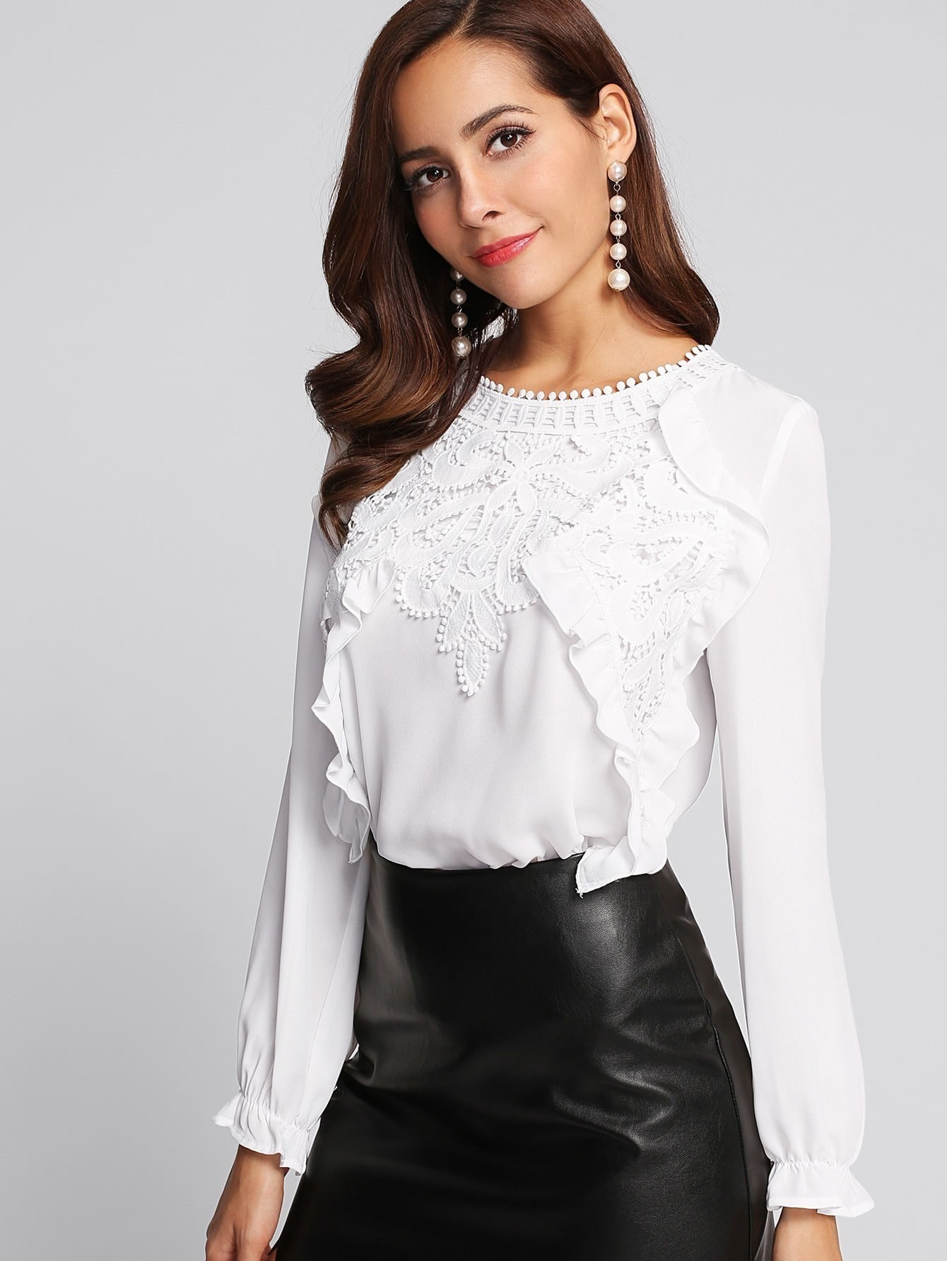 Applique Front Frilled Cuff Blouse fashionable front frilled chiffon blouse for women