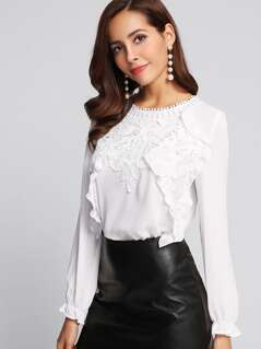 Guipure Lace Panel Frilled Cuff Blouse