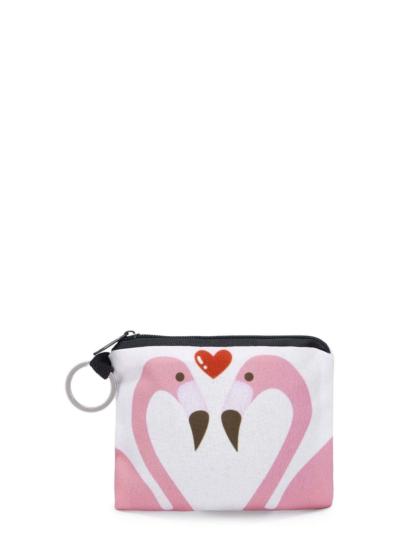 Flamingo & Heart Print Pouch