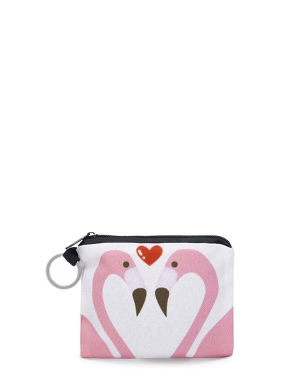 Flamingo & Heart Print Pouch