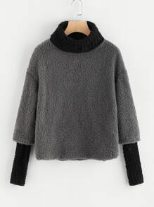 High Neck Sherpa 2 In 1 Jumper