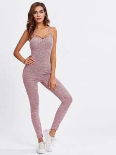 Caged Marled Tailored Cami Jumpsuit