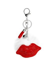 Red Lips & Tassel Design Keychain