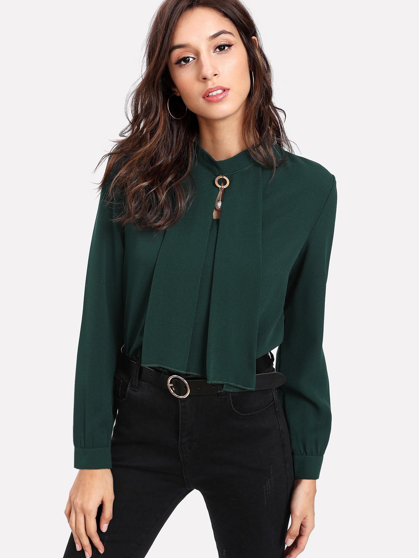 Купить Модная блуза с бусиной, Gabi B, SheIn