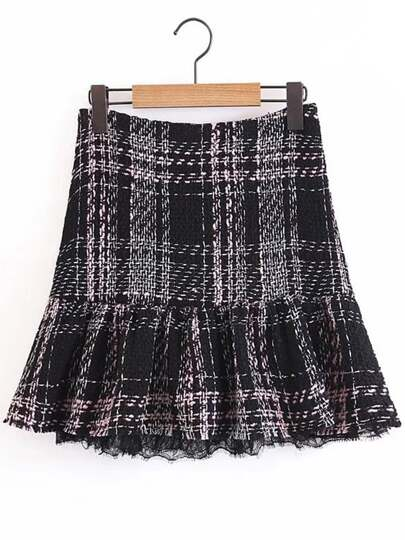 Lace Hem Tweed Skirt