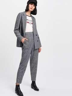 Plaid Boxy Blazer & Peg Pants Co-Ord