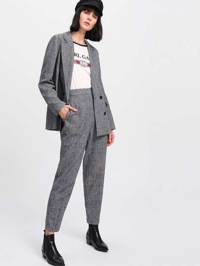 Plaid Boxy Blazer & Peg Pants Co-Ord
