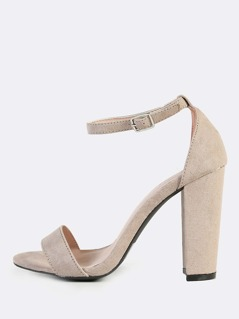 Single Band Ankle Strap Block Heels TAUPE