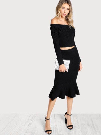 Off Shoulder Long Sleeve Crop Top & Matching Skirt BLACK