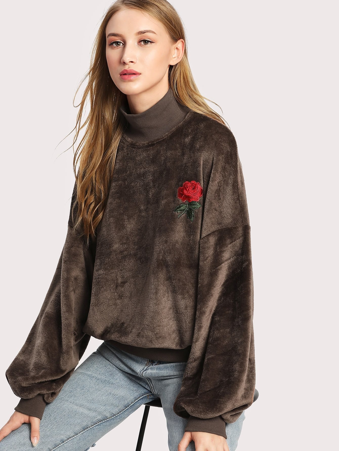 Rose Applique Lantern Sleeve Fluffy Sweatshirt drop shoulder lantern sleeve sweatshirt