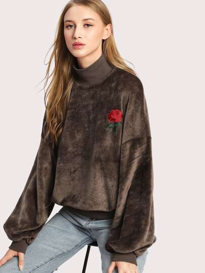 Rose Applique Lantern Sleeve Fluffy Sweatshirt