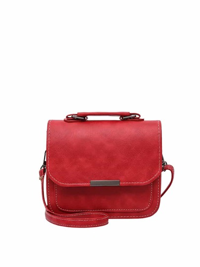 Metal Detail Flap PU Shoulder Bag