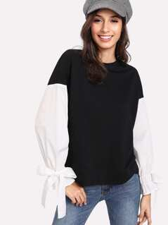 Two Tone Tie Sleeve Mixed Media Pullover