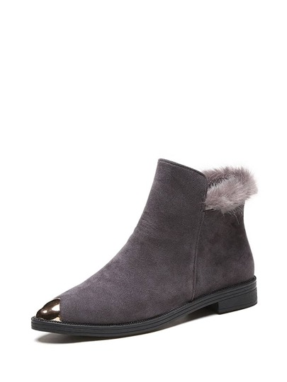 Metallic Cap Toe Faux Fur Detail Boots