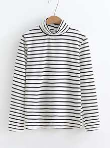 Turtleneck Striped Tee