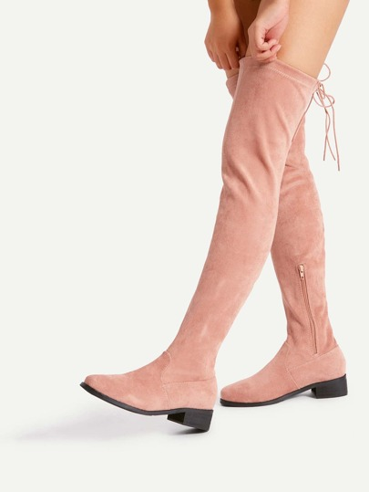 Lace Up Back Round Toe Suede Boots