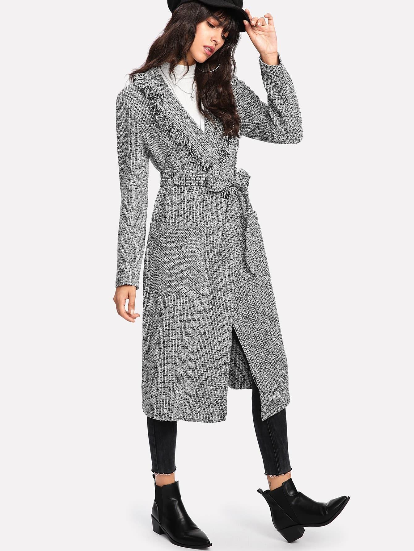 Fringe Trim Self Belted Tweed Coat