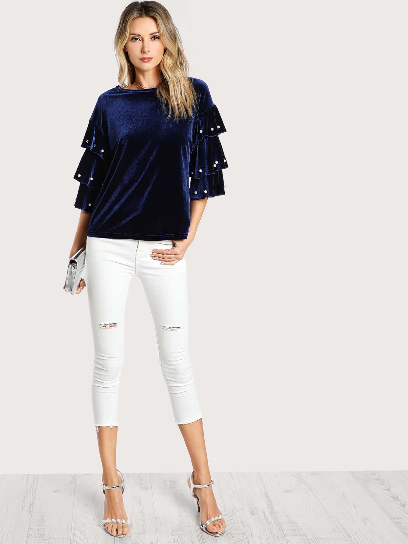 Pearl Beading Layered Sleeve Top pearl detail layered frill sleeve top