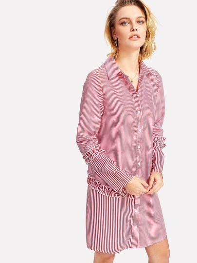 Frilled Detail Pinstripe Shirt Dress