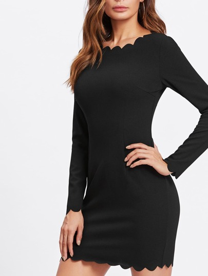 Scalloped Trim Form Fitting Dress