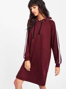 Tape Trim Letter Ribbon Detail Raglan Hoodie Dress