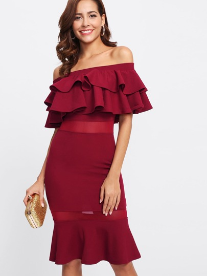 Flounce Layered Mesh Insert Fishtail Dress