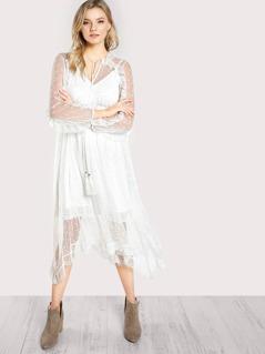 Hanky Hem Frilled Dot Mesh 2 In 1 Dress