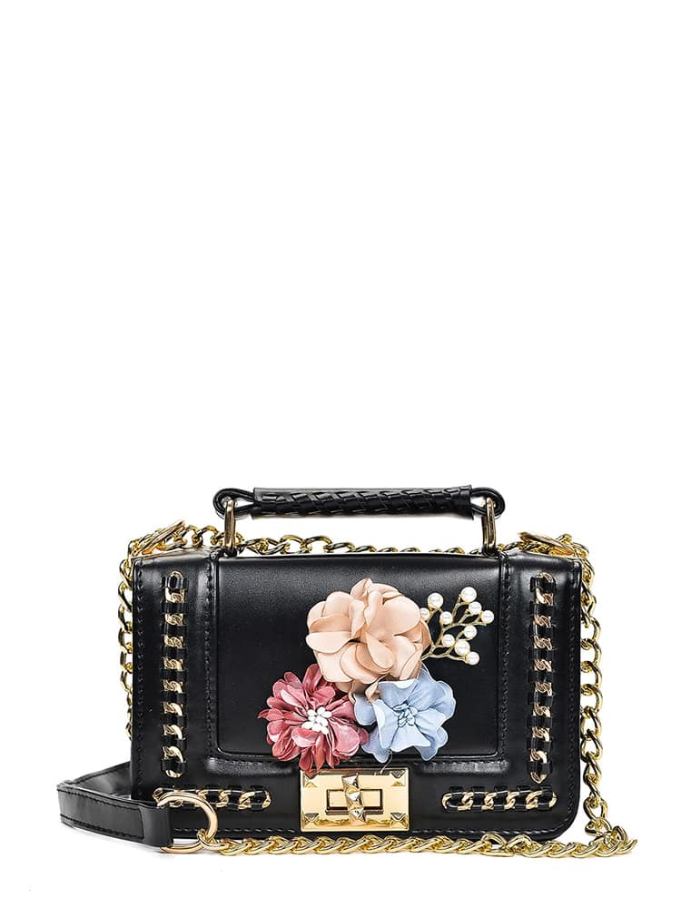Flower Embellished Chain Bag With Faux Pearl