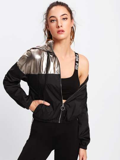 Two Tone Metallic Hoodie Jacket