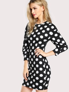 Polka Dot Relaxed Fit Quarter Sleeve Dress BLACK WHITE