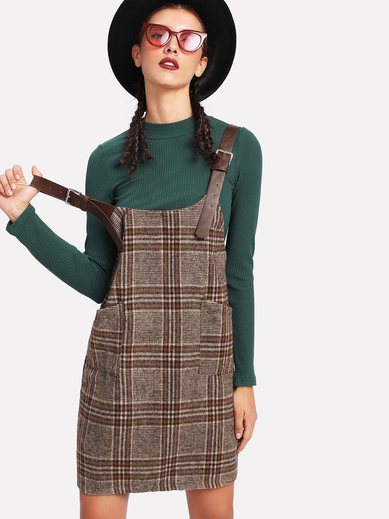Tartan Plaid Buckle Detail Overall Dress dress171124102