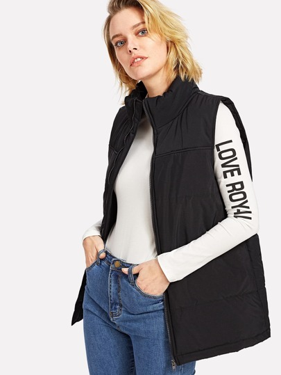 Zip Up Sleeveless Puffer Coat