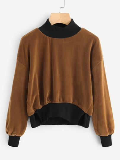 Velvet Drop Shoulder Contrast Trim Sweatshirt