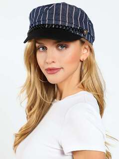 Striped Chain Accent Paperboy Hat NAVY