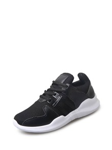 Contrast Faux Leather Lace Up Trainers