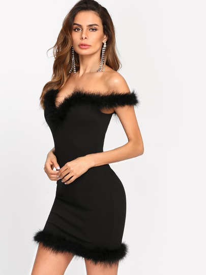 Faux Fur Trim Sweetheart Bardot Dress