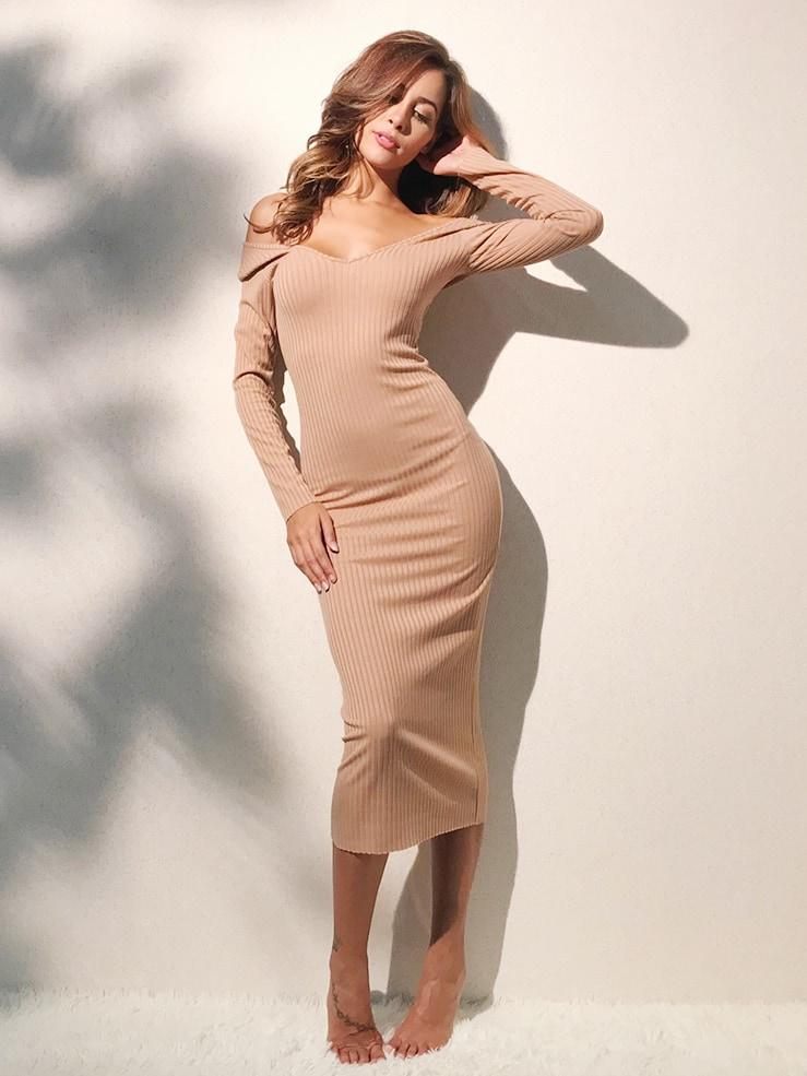 Off Shoulder Ribbed Dress dress171110301