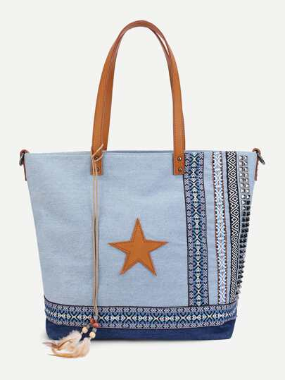 Star Detail Denim Tote Bag