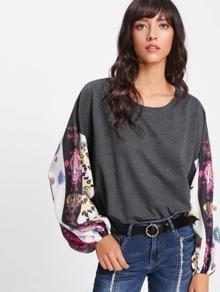 Contrast Printed Sleeve Dip Hem Sweatshirt