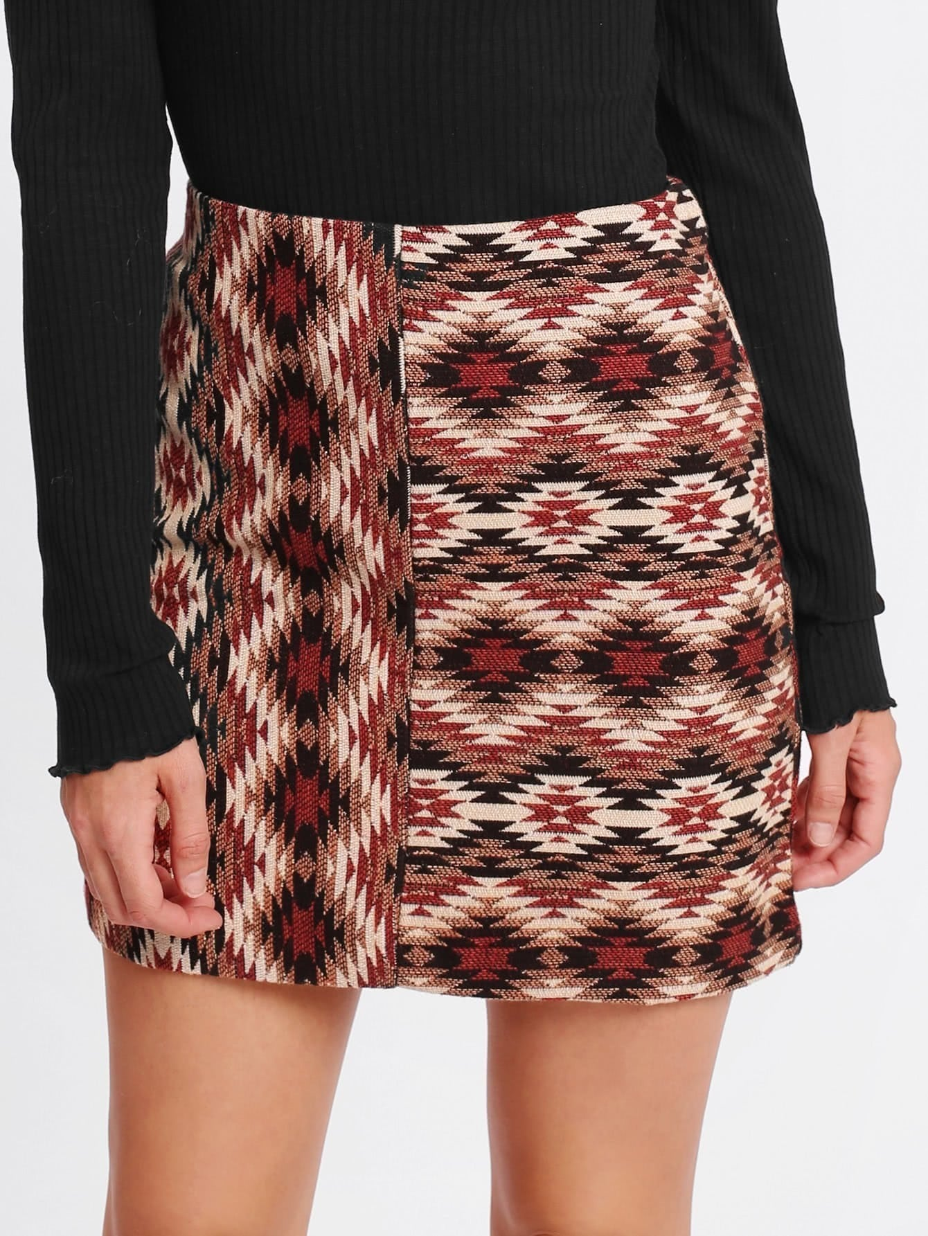 Geo Pattern Fitted Skirt lisa corti короткое платье