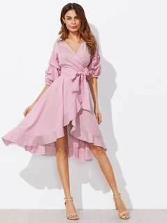 Surplice Wrap Flounce Dip Hem Pinstripe Dress
