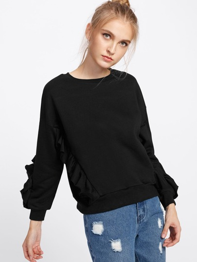 Ruffle Decroation Sweatshirt