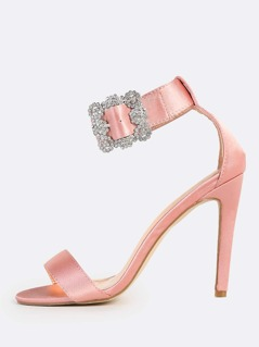 Diamond Encrusted Buckle Heels MAUVE