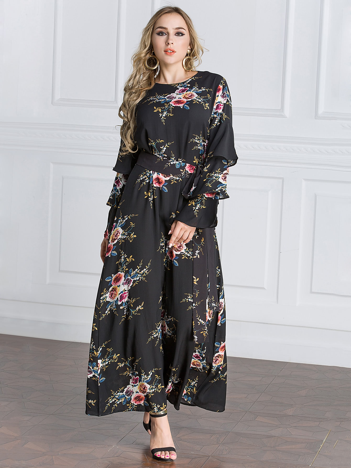 Layered Sleeve Floral Print Maxi Dress pearl detail layered frill sleeve top
