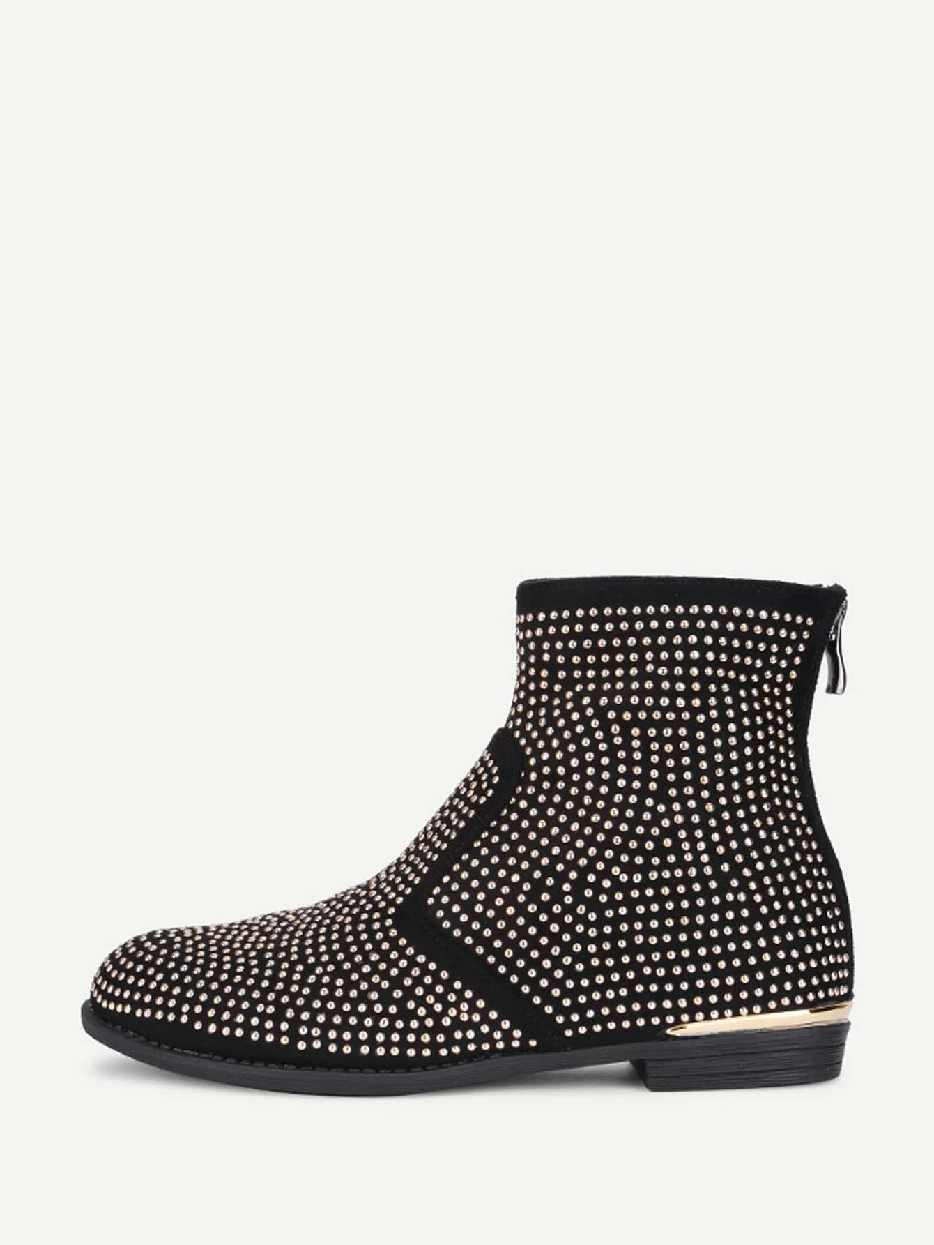 Studded Overlay Back Zipper Ankle Boots titan asia 77r