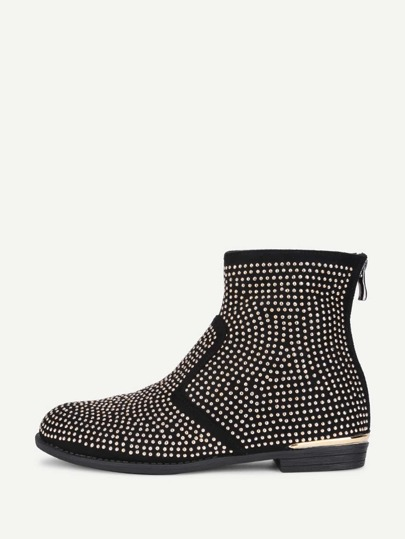 Studded Overlay Back Zipper Ankle Boots