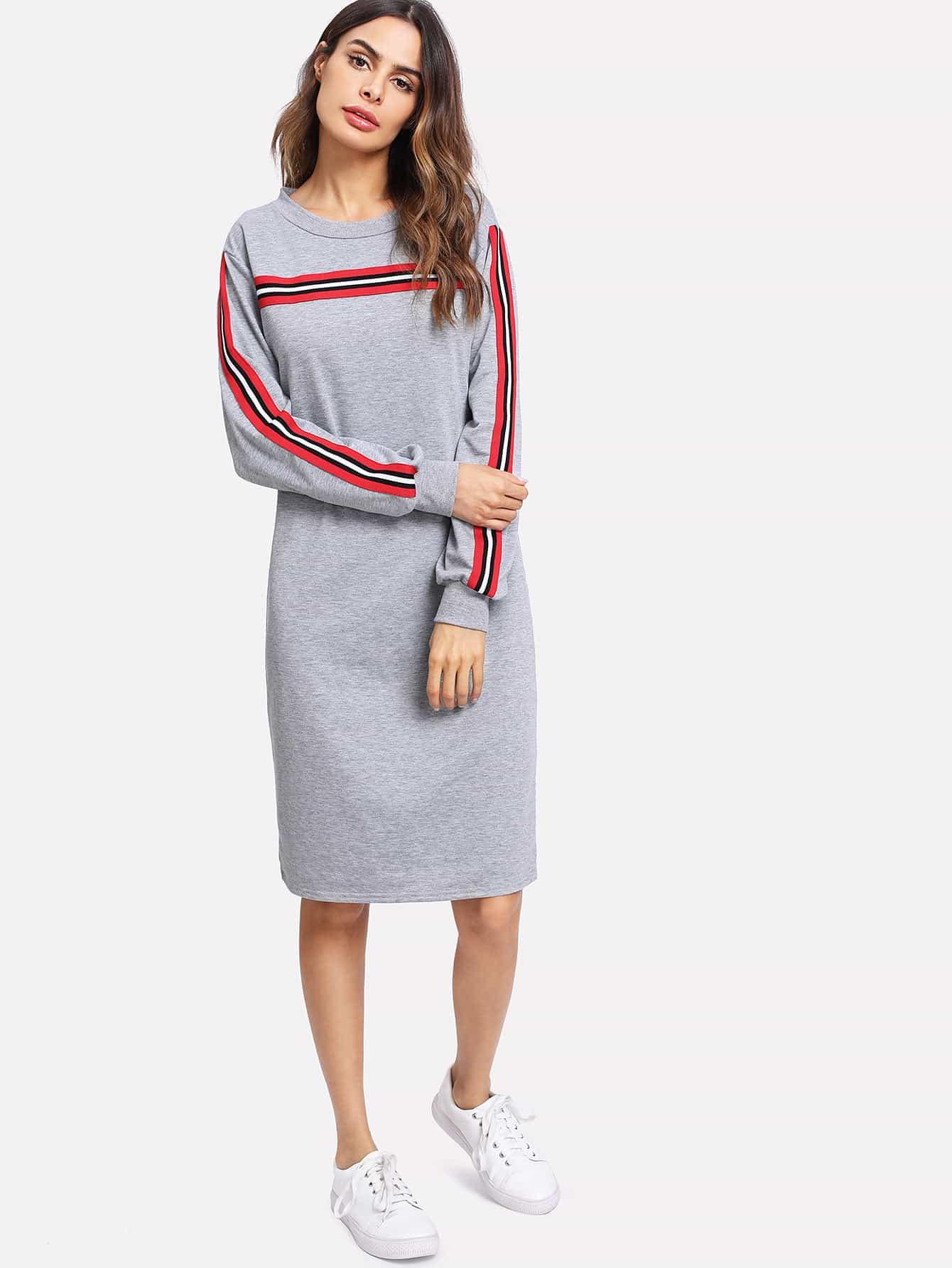 Sweatshirt Kleid mit Streifen